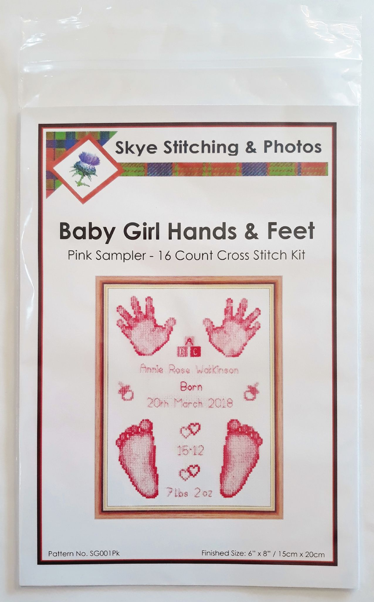 Hands & Feet - Baby Girl Pink Birth Sampler/Announcement - 16 Count Cross  Stitch